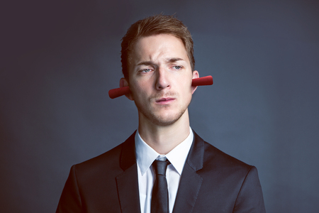 Deaf Businessman Stock Photo