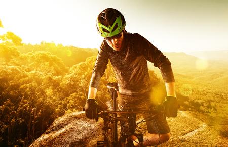 Mountainbiker having a break