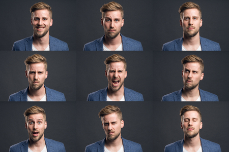 Man with different emotions Stock Photo