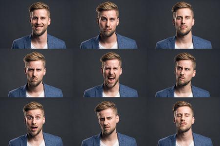 Mann mit verschiedenen Emotionen Standard-Bild - 76941530