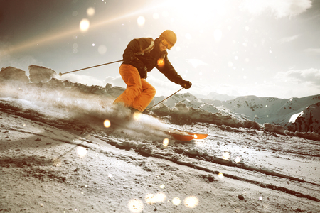 Skier during sunset Stock Photo
