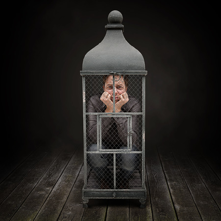 Caged man stay inside