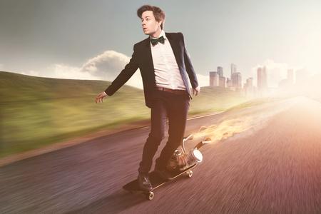 Businessman on a motorized Skateboard