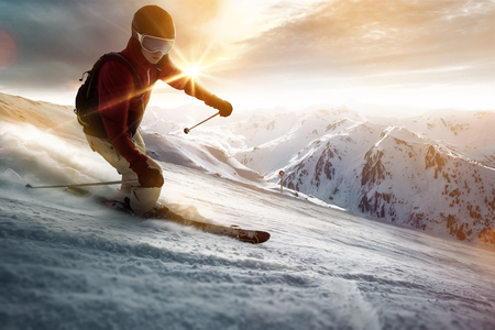 Skier in a sunset setting