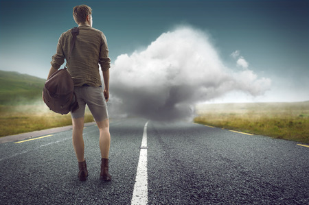 Man faces a cloud on the street