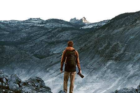 Wanderer in front of mountains