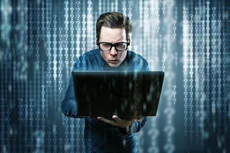 Nerdy Hacker has no idea what he is doing 版權商用圖片