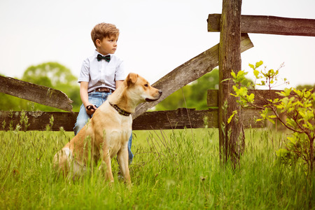lonely person: Child with his Dog