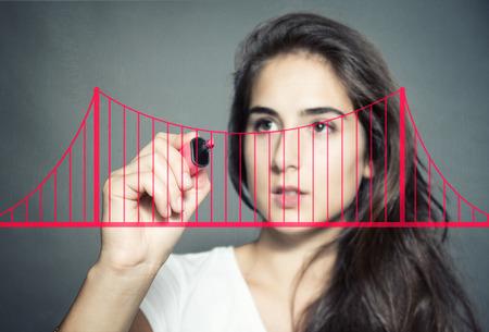 Bouw een brug Stockfoto