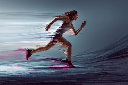 Runner woman with paint effects 写真素材