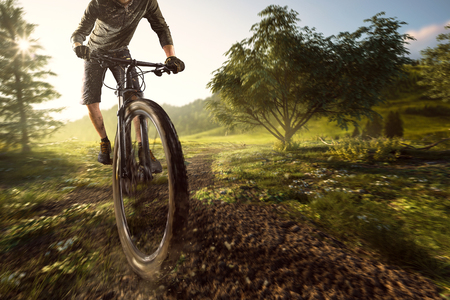 Mountain bikers in the field Stockfoto
