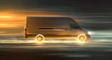 Delivery van with fire tires 写真素材