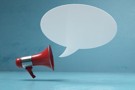 Megaphone with speech bubble Banque d'images