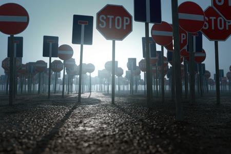 De nombreux panneaux d'interdiction Banque d'images