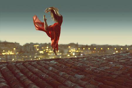 Ballerina dances on rooftop