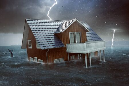 House sinks in high water