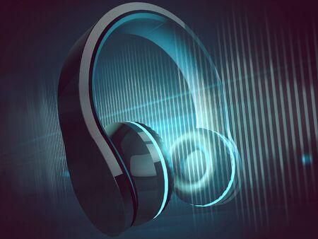 Earphones (3D Rendering) 写真素材