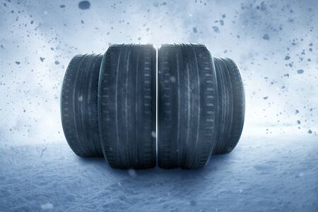 Winter tires in a snow storm