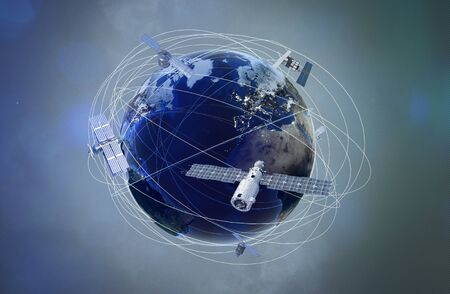 Earth with satellites