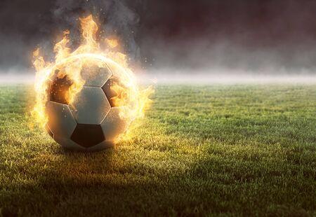 Burning Soccer Ball on Gras (3D Rendering)