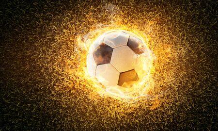 Burning classic soccer ball on grass (3D Rendering)