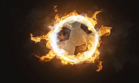 Burning classic soccer ball