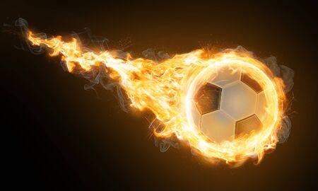 Burning classic soccer ball (3D Rendering)