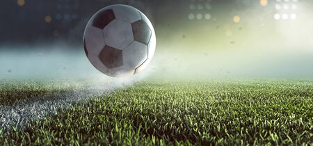 Soccer ball jumps over the line