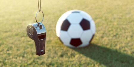 Silbato y fútbol (representación 3D)