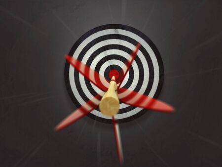 Arrows flies into bulls eye Banco de Imagens