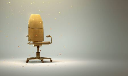 Golden Office Chair with Confetti  (3D Rendering) Stok Fotoğraf