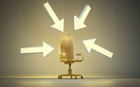 Golden executive chair (3D Rendering)