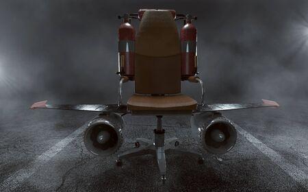 Bürostuhl mit Flügeln und Turbinen (3D Rendering)