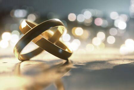 Rings lay on table (3D Rendering)