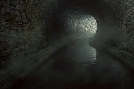Old sewage tunnel (3D Rendering) 스톡 콘텐츠