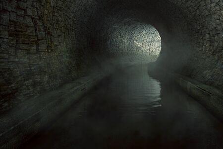 Old sewage tunnel (3D Rendering) Stok Fotoğraf