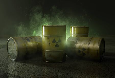 Nuclear waste in barrels (3D Rendering)