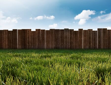 Garden with gras and wooden fence (3D Rendering)
