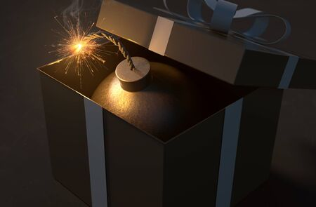Bomb in a gift box (3D Rendering) Stockfoto