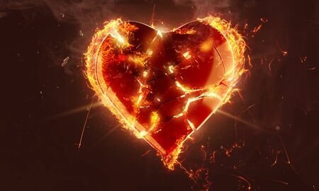 Broken heart in flames (3D Rendering)