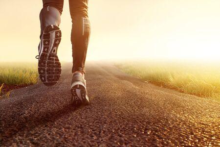 Jogging on dirt road