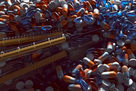 Pills and injections (3D Rendering)