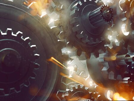 Gears, sparks and smoke (3D Rendering) 写真素材