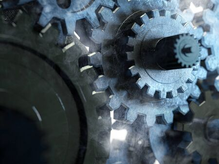 Gears with smoke (3D Rendering)