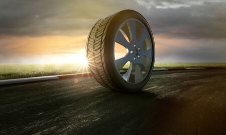 Tires on racing track