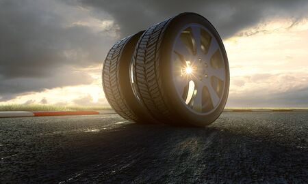 Two tires on racing track