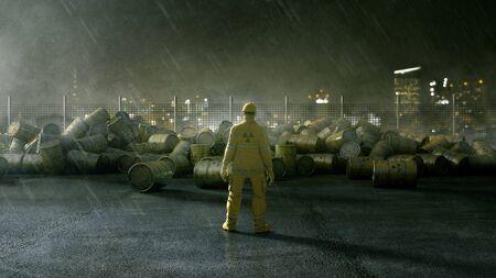 Le travailleur se tient devant des barils de déchets nucléaires