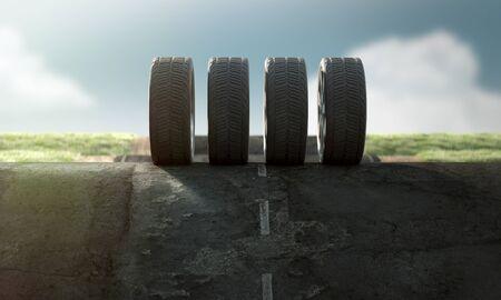 Car wheels on the street