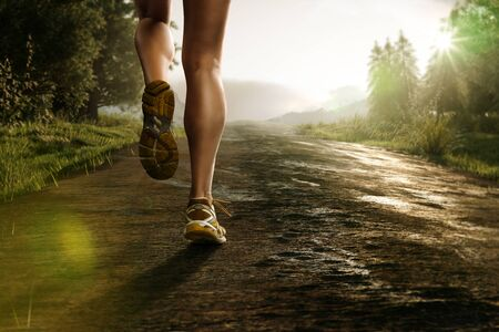 Runner on a forest path