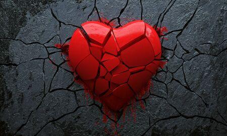 Corazón roto (representación 3D)